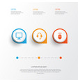digital icons set collection of earphone desktop vector image vector image