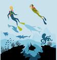 diver explorers and reef underwater wildlife vector image
