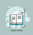 earphones connected to paper book and play button vector image