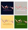 flag map of indonesia vector image vector image