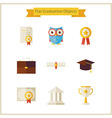 Flat School Graduation and Success Objects Set vector image vector image