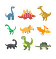 flat set of cartoon dinosaurs funny vector image