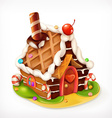 Gingerbread house sweet food icon vector image vector image