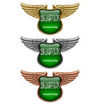 gold silver and bronze award signs with wings and vector image vector image