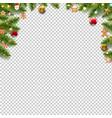 green fir tree borders with christmas toys vector image
