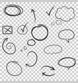 hand drawn arrows and circles icon set collection vector image vector image