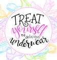 hand lettering quote - treat yourself to delicious vector image vector image