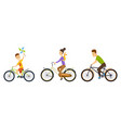 happy family cycling along the road in natural vector image vector image