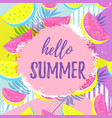 hello summer greeting banner seamless watermelon vector image