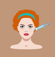 illistraion with girl face and injector vector image vector image