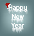 inscription happy new year with icicles vector image vector image