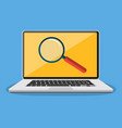 laptop with magnifying glass on screen vector image vector image