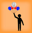 man holds balloons stickman figure celebration of vector image vector image