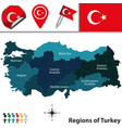 map of turkey with regions vector image