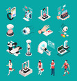 medical technology isometric icons vector image vector image