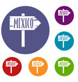 mexico wooden direction arrow sign icons set vector image vector image
