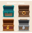 opened antique wooden chest vector image vector image