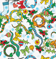 Pattern with snakes bows mistletoe snowflakes vector image vector image