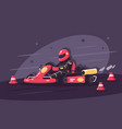 person in protective suit on race car rides vector image
