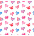 pink watercolor painted hearts seamless pattern vector image