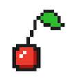 pixel art cherry icon game fruit vector image vector image
