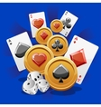 Poker Cards dice and Coins vector image vector image