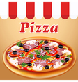poster fresh Italian pizza with mushrooms and saus vector image vector image