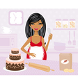 Pregnant woman cooking vector image