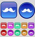 Retro moustache icon sign A set of twelve vintage vector image