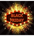 Retro symbol with glowing lamps for Black friday vector image vector image