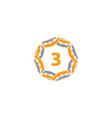 ribbon circle star number 3 vector image