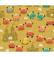 Seamless pattern with crabs and sand castles vector image