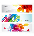 Set of gift cards with arrows and abstract objects vector image vector image