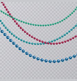 set of realistic colorful pearls on transparent vector image vector image