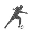 silhouette soccer player running with the ball on vector image vector image