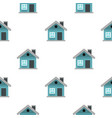 small blue cottage pattern seamless vector image