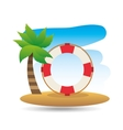 tropical vacation beach life buoy icon vector image vector image