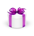 White Round Gift Box with Violet Purple Ribbon and vector image