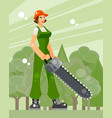 woman lumberjack in the forest vector image vector image
