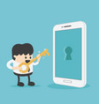 young businessman holds a golden key to unlock vector image vector image
