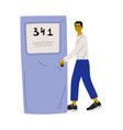 young man in casual clothes opening door and vector image vector image