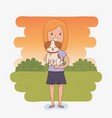 young woman with cute dog mascot vector image