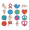 peace related icons vector image