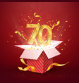 70 th years number anniversary and open gift box vector image vector image