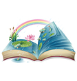A book with an image of a pond vector image vector image