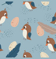 adorable little quail seamless pattern vector image vector image