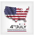 america map and waving flag independence day of vector image