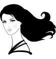 Beautiful young woman with long black hair vector image vector image