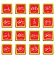 bicycle types icons set red square vector image vector image