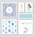 birthday card templates set mermaid and little vector image vector image
